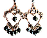 Floral Copper Heart with Black Sparkle Chandelier Earrings