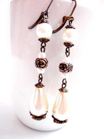 Antiqued Copper & Pearl Drop Earrings, Vintage Inspired Long Three Shades of White Pearl Earrings