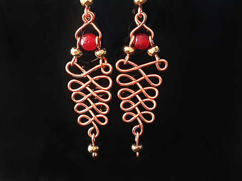 Long Celtic Inspired Copper Chandler Earrings