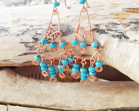 Long Celtic Copper Turquoise Chandler Earrings