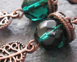 Emerald Alive Acorn Antiqued Copper Earrings