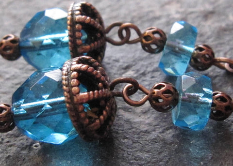Romantic Aqua Blue Antiqued Copper Earrings
