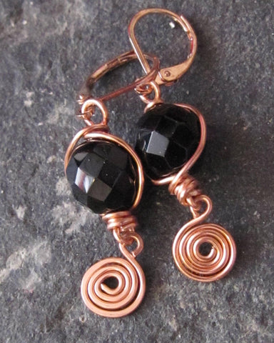 Romantic Midnight Sparkle & Copper Coil Earrings