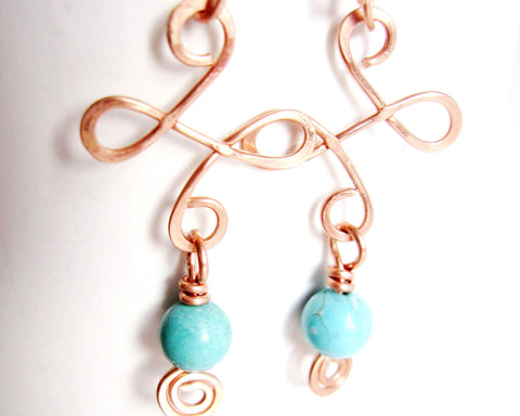 Celtic Dancing Copper & Turquoise Chandelier Earrings