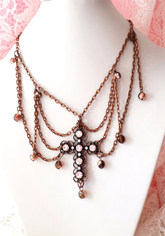 Romantic Antique Copper Cross Festoon Necklace, One of a Kind Vintage Festoon Style Antiqued Copper & Crystal Necklace