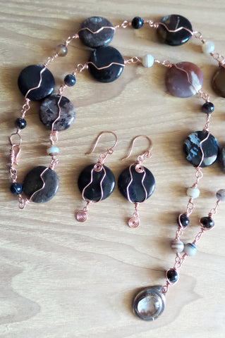 Copper Agate Warmth Necklace & Earring Set-Copper Wire Wrapped Agate & Banded Agates with Vintage Rafael Pendant