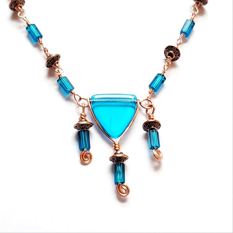 Blue Song Art Deco Inspired Necklace