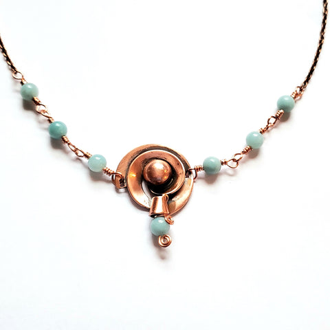 Music Fills the Room Amazonite Copper Necklace