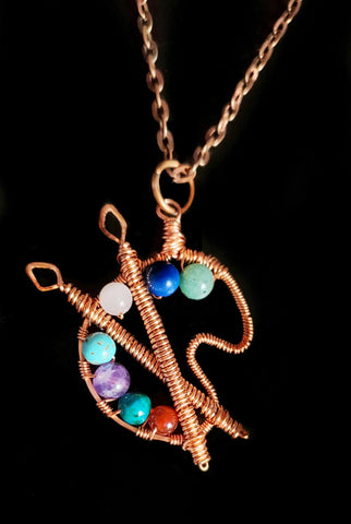 Copper Gemstone Color Pallet Pendant