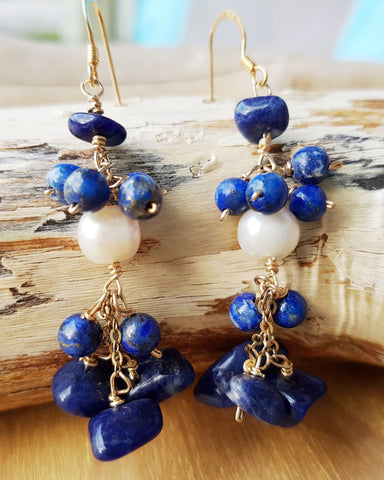 Vintage Treasures Blue Lapis Lazuli Pearl Cluster Earrings