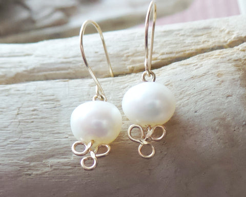 Golden Trinity Pearl Earrings