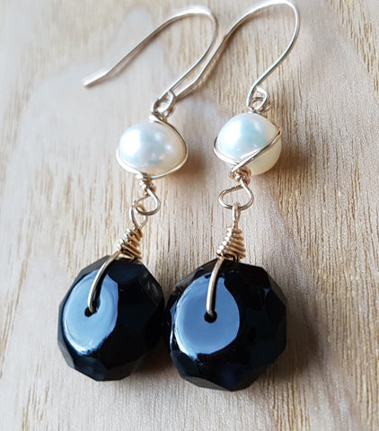 Golden Black Onyx Pearl Earrings