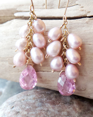 Pink Pearl Cubic Zirconia Cluster Earrings