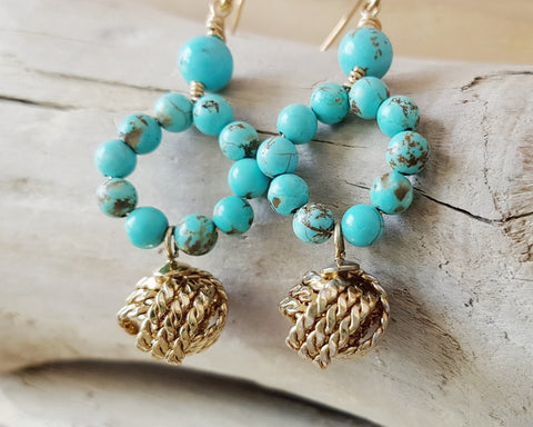 Vintage Golden Love Knot Turquoise Earrings-Long Gold & Turquoise Bohemian Hoop Earrings