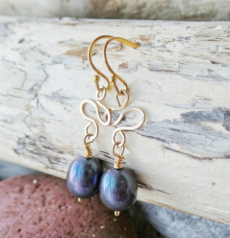 Golden Peacock Pearl Earrings-Handcrafted-One of a Kind- 14k Gold Filled-Grey Freshwater Cultured Pearls-Dangle Style