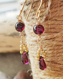Garnet Honey Berry Earrings-Long Genuine Garnet-14k Gold Filled-Sterling Silver Vermeil -Handcrafted-Wire Wrapped-One of a Kind-January Birthstone