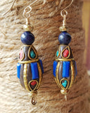 Blue Lapis Ancient Egyptian Dance Earrings-Blue Lapis-Tibetan Nepalese Beads-14k Gold Filled