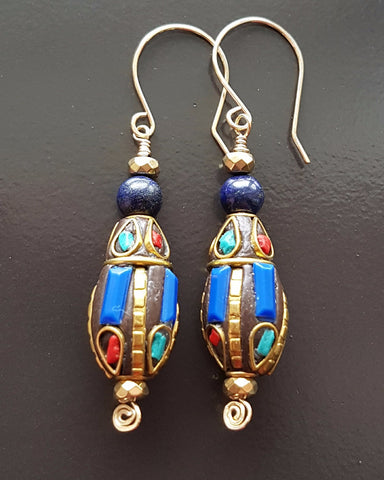 Blue Lapis Lazuli Ancient Egyptian Dance Earrings
