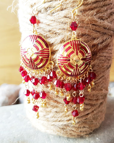 Long Red Crystal Statement Chandelier Earrings-Handmade-Elaborate Gold & Red Enamel & Austrian Crystal, Bohemian Earrings, Red Earrings, Fair Trade, Eco Friendly, Vegan Friendly