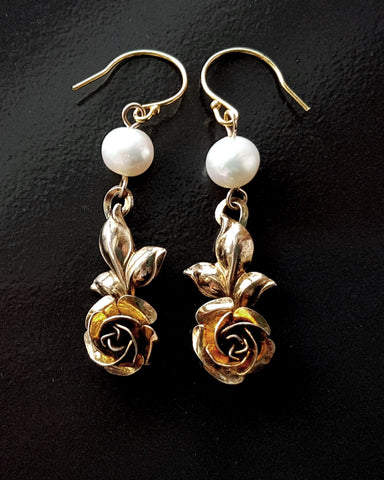 Gold Vintage Rose Pearl Earrings