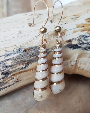 Beach Gold Long Shell Earrings