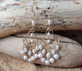 Bohemian Treasure Pearl Chandelier Earrings, Long White Pearl Earrings, 14k Gold Filled and Freshwater Cultured Pearls