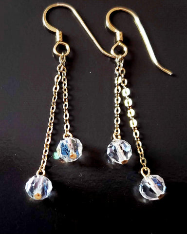 Long Art Deco Inspired Crystal Dangle Earrings, Upcycled Vintage 14k Gold Filled, Vintage Clear AB Crystals on Long gold Chains