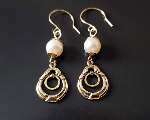 Gold Pearl Victorian Inspired Earrings,