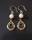 Gold Pearl Victorian Inspired Earrings