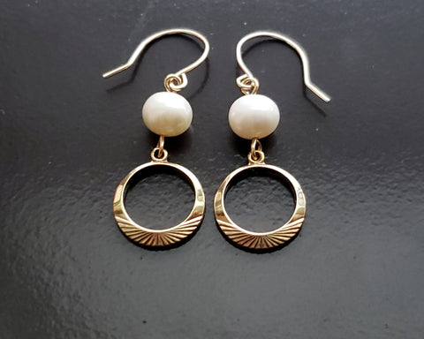 Gold Eternity Pearl Earrings, 14k Gold Filled, Vintage Gold Filled, Freshwater Cultured Pearls