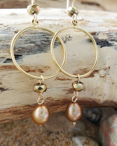 Long Gold Pearl Hoop Dangle Earrings
