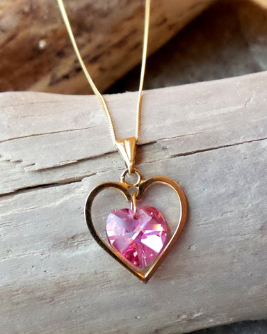 Golden Vintage Heart Pink Crystal Necklace