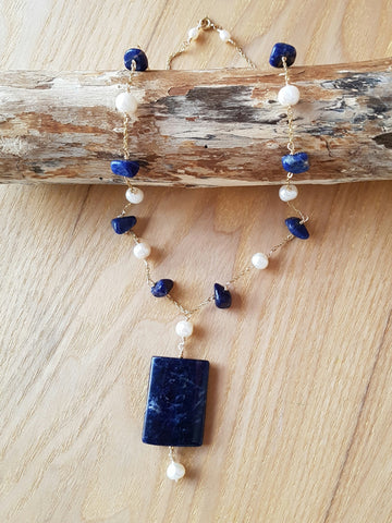Vintage Pearls & Blue Sodalite Necklace