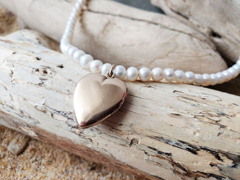 Romance Pearl Heart Locket Necklace