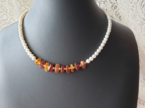 Peaceful Vintage Amber Freshwater Cultured Pearl Necklace, Beaded