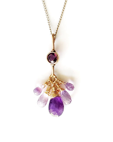 Royal Amethyst, Mystic Topaz Vintage Gold Filled Pendant Necklace made with Vintage 14k Gold Filled & Purple Gemstones