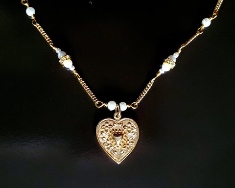 I Love You Vintage Heart Pearl Necklace, Victorian Style Gold Heart and Pearl Chain Necklace. Upcycled & Sustainable.