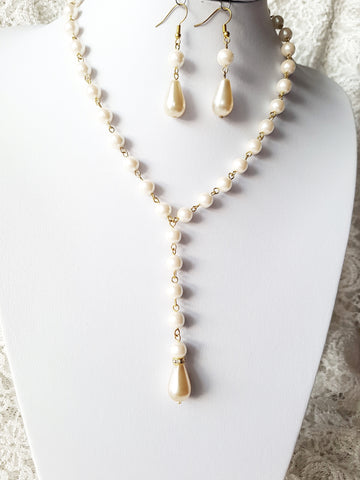 Golden Pearl Necklace and Earring Set-Vintage Art Deco Inspired- Off White-Cream Glass Pearls