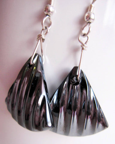 Vintage Hematite Glass Earrings