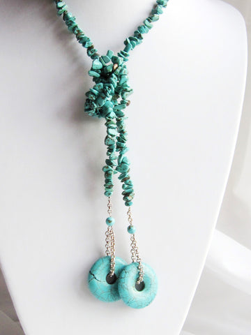 Bohemian Turquoise Lariat Necklace-Handcrafted-One of a Kind-Long Beaded Wrap Necklace