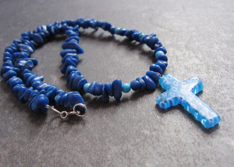 Blue Happiness Cross Necklace