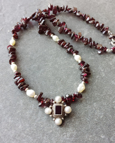 My new Medieval Inspired Cross necklace, Upcyled Vintage Sterling Silver, Garnets, Cultured and Freshwater Cultured Pearls, Onyx