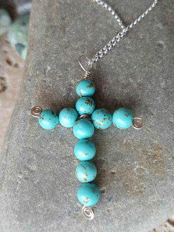 Turquoise Celtic Eternity Cross
