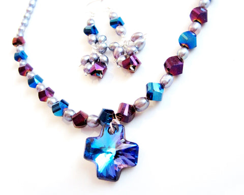 Heliotrope Swarovski Crystal Cross Pearl Statement Set