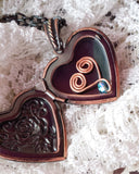 Long Victorian Birthstone Heart Locket Necklace