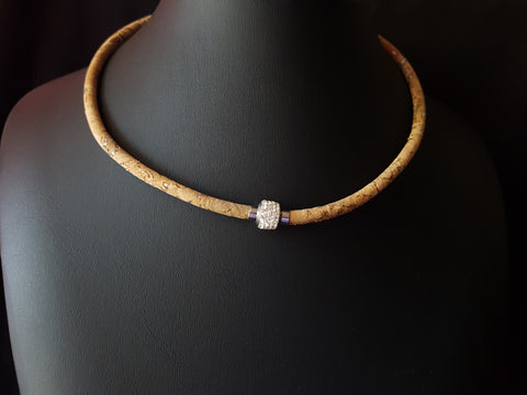Brilliant Crystal Portuguese Cork Magnetic Necklace-Portuguese Cork Cord-Crystal Magnetic Clasp