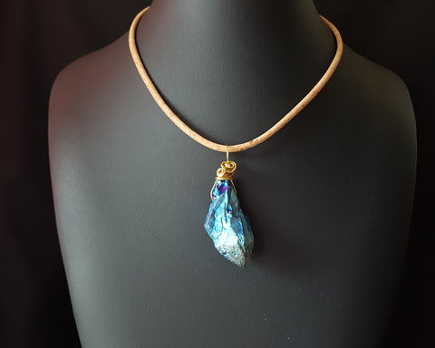 Blue Fire Quartz Crystal Pendant on Portuguese Cork Cord-OOAK-Handmade-Wire Wrapped Electroplated Quartz
