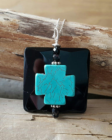 Onyx Turquoise Hope Pendant-Large Black Onyx Stone-Turquoise Cross-Sterling Silver Wire Work