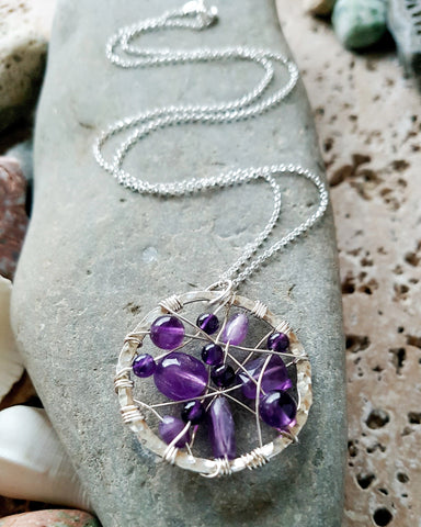 Amethyst Universe Pendant, Love, Peace and Joy Pendant Necklace, Sterling Silver, Upcycled, Repurposed Silver, Pendant on Chain