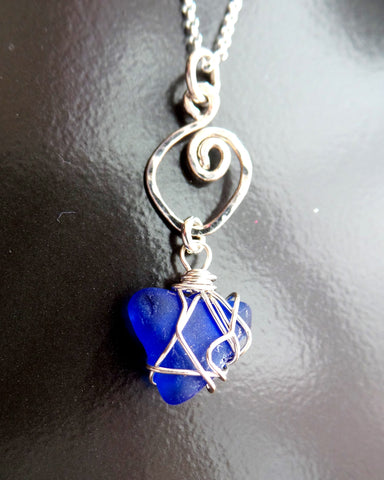 Celtic Blue Beach Glass Pendant, Sterling Silver, Wire Wrapped Pendant on Chain, Lake Ontario